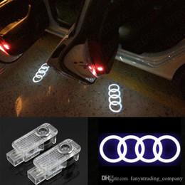 Ingrosso Logo 2Pcs LED del portello di automobile luci del proiettore laser Luce dell'ombra del fantasma Benvenuti lampada per Audi Per Volkswagen Skoda