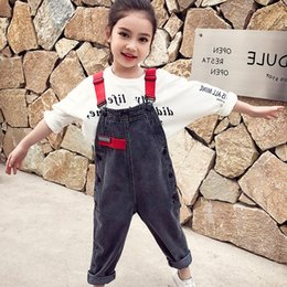 Years old girl jeans online shopping - Girls jeans new spring and autumn fashion hot children s bibs foreign gas years old baby bib tide