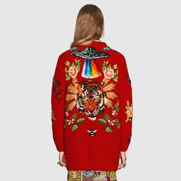 Wholesale 2019 Spring and Autumn Luxury Brand Red Shirt Embroidered Women Sweaters Long Loose Cardigan Jacket Size S L