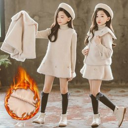 short mink fur NZ - 2019 Autumn Winter Children Girls Faux Mink Fur Plus Velvet Warm Thick Sets Kids Girls Woolen Coat + Vest Dress 2PCS Suits NO30 T200413