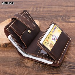 Handmade cowHide purses online shopping - Handmade Crazy Horse Leather Men Wallet Short Vintage Genuine Leather Real Cowhide Male Purse Card Holder With Coin Pocket
