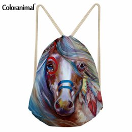 $enCountryForm.capitalKeyWord Australia - Coloranimal Horse Painting Print Women Men Drawstring Bag Basketball String Backpack Teenager Girl Boy Casual Storage Sack Pack
