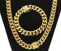 Steel Gold 18k Australia - Hiphop Stainless Steel Jewelry Sets 18K Gold Plated Dragon Latch Clasp Cuban Link Necklace & Bracelets For Mens Curb Chain 1.4cm Wide