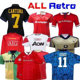 Versão Retro 2002 Uniforme da Liga dos Campeões de Futebol final de futebol Giggs SCHOLES Beckham RONALDO 98 99 CANTONA KEANE preto 1994 08