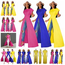 $enCountryForm.capitalKeyWord Australia - 2019 European trend solid color round neck short sleeve pullover split skirt nightclub dress, yellow, rose red, blue, support mixed batch