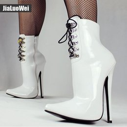 $enCountryForm.capitalKeyWord Australia - Man Sexy Fetish boot 18CM Thin high-heeled Short Boots Woman PU leather pointed toe Stiletto Ankle Boots BDSM Cross dress Shoes White