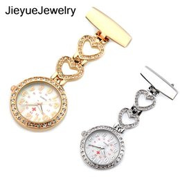 Nurses Fob Watches Clip Australia - Clip-on Fob Quartz Brooch Heart-shaped Hanging Nurse Pin Watch Luxury Crystal Men Women Full Steel Pocket Watch Relogio Clock
