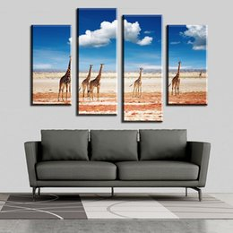 $enCountryForm.capitalKeyWord Australia - 2017 Promotion 4 Pcs The Giraffe In Wild Wall Painting Print On Canvas For Home Decor Ideas Paints Pictures Art Free Shipping