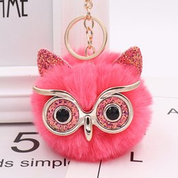 pink owl chain Australia - Owl Plush Key Chain Cute Women Girls Imitation Rabbit Ball Bag Pendant Leather Car Pendant Best Gifts for Friends Birthday