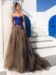 $enCountryForm.capitalKeyWord Australia - 2019 New blue lace appliques evening dresses crystal design bridal sweetheart neckline sweep train A-line formal evening gowns