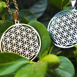 $enCountryForm.capitalKeyWord Australia - Silver Gold Plated Necklaces & Pendants for Women Pendants Flower of Life Pendant Necklace to the Window Silver Chain Sacred Geometry
