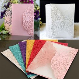 Wholesale 100pcs European Laser Cut Wedding Invitations Card Elegant Lace Business Greeting Cards Birthday Wedding Party Favor Decoration