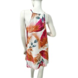 Wholesale Flower Printing Dresses Women Casual Summer Soft Drawings Beach Dresses sexy beach cover up jupe plage vestito spiaggia plaj