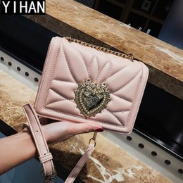 $enCountryForm.capitalKeyWord NZ - Factory direct selling women bag classic embroidered line leather handbag fashionable love water drill chain bag fashionable inlaid shoulder