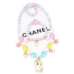 $enCountryForm.capitalKeyWord UK - Ins pearl girls necklaces+bracelet 2pcs set Unicorn crystal kids necklaces kids bracelet Boutique princess designer kids jewelry A7099
