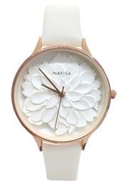 $enCountryForm.capitalKeyWord Australia - Nafisa Women's 2019 Hot Fashion Frost White Embossed 3D Peony Flower Dial Japan Quartz Black Leather Strap Wrist Watch NA-0129