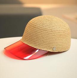 $enCountryForm.capitalKeyWord NZ - M letter Straw Hats 7 Colors Women Transparent PVC Patchwork Straw Baseball Cap Summer Snapback Hat Visor OOA6964