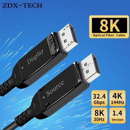 hdmi 1.4 port Australia - Display Port 1.4 Cable 4K 144Hz 8K 30Hz 32.4Gbps Optical Fiber DP 1.4 Cord Male to Male 5m 10m 15m 20m DisplayPort 1.4 Cable