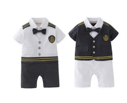 marines costume UK - Baby Boy Captain Pilot Marine Jumpsuit Infant Toddler Short Sleeves Sailor Navy Summer Clothes Costume Baby Onesie Retail J190715