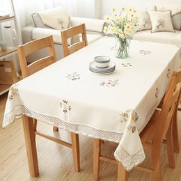 Flowered cotton tablecloths online shopping - Europe Flowers Tablecloth White Hollow Lace Cotton Linen Dustproof Table Cloth Wedding Banquet Home Decoration TV Cabinet Cover Cloth