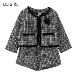 $enCountryForm.capitalKeyWord Australia - Liligirl Kids Girls Temperament Clothing Set 2019 New Plaid Jacket+shorts 2pcs Suit For Baby Girl Good Quality Tracksuit Costume Y190518