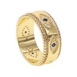 Leather Banded Ring Australia - Evil eye blue Crystal Wedding Rings For Women Fashion Rhinestone Female male birthday Jewelry anillos mujer lucky band rings