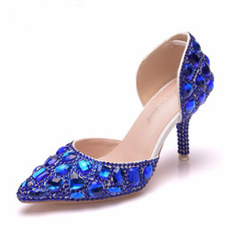 b92b4fb919b8 8cm Royal Blue Rhinestoe Sandals Pointed Toe Thin High Heels Sandals Gold Pumps  Evening Shoes Bridal Wedding Shoes