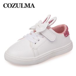 casual girl shoes Australia - Cozulma Spring Children Sneakers Kids Shoes Girls Sequined Rabbit Ears Outdoor Casual Shoes Girls Princess Bow Tie Sport Shoe MX190727