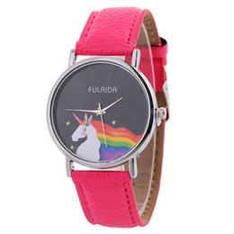 Wholesale rainboW Watch online shopping - Cartoon Children Quartz Wrist Watch Unicorn Rainbow Pattern Leather Strap Band Watches Simple Kids Student Clocks