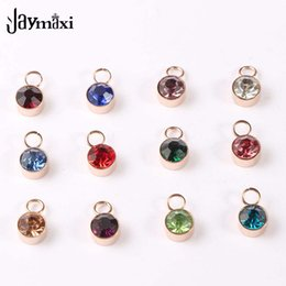 color stone charms NZ - Jaymaxi Stainless Steel Birth Stones Pendant 6mm Rose Gold Color Rhinestones 12 Birthstone Charms for Jewelry Making 12pcs lot