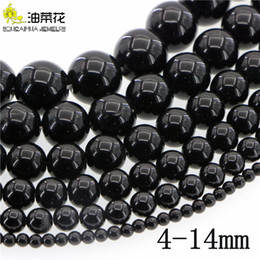 jade beads loose stones UK - Natural Stone 4-14mm Black Agate Round Loose Beads DIY Accessories Making Woman Girl Gift Christmas Wedding Necklace Bracelet Wholesale