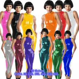 pvc bodysuit xxl Australia - High Quality Shiny Dance Catsuit Zipper Back PVC Jumpsuit Women Sleeveless High Neck Bodysuit Halloween Catwoman Cosplay Costume
