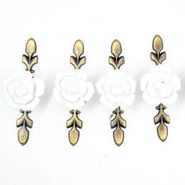 Kitchen Cabinets Sets Australia - 5pcs set Small White Rose Flower Ceramic Alloy Base Door Handle Kitchen Cupboard Closet Drawer Cabinet Furniture Pull Knob 119mm