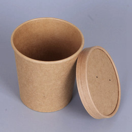 Disposable Ice Cream Bowls Australia - Kraft Paper Cups Disposable Cups with Cover for Soup Ice Cream Dessert Cake Party Tableware Bowls