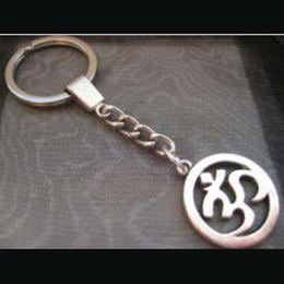 $enCountryForm.capitalKeyWord Australia - New Antique Silver 3D Yoga OM OHM Pendant Keychains Key Ring for Women Key Chain Religion Fashion Jewelry Car Gift