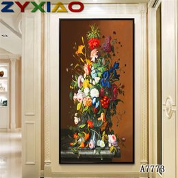 oil painting big flowers UK - ZYXIAO Big Size Oil Painting flower pink rose blue orchid Home Decor on Canvas Modern Wall Art No Frame Print Poster picture A7773