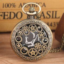$enCountryForm.capitalKeyWord Australia - Delicate Hollow Out Gear Quartz Pocket Watch for Men for Men Alloy Link Chain Watches Vintage Bronze Large Black Dial Pendant Watch