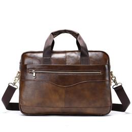 Brown Cow Leather Bags Australia - 14 inch Men's Genuine Leather Briefcase Men Shoulder Bag For Men Brown Cow Leather Briefcase For bussiness Laptop Handbags hot