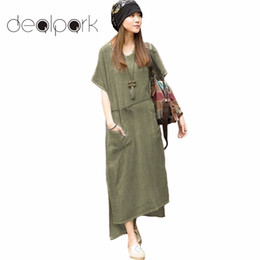 516445e6bb 4xl 5xl Plus Size Maxi Dresses Women Retro Robe Casual Loose Cotton Linen  Long Dress Short Sleeve Ankle Length Oversized Dresses Y19012201