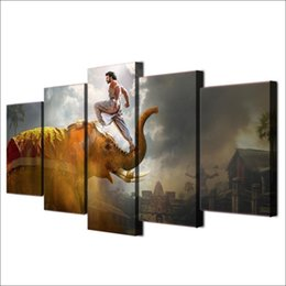 art abstract nude UK - This Movie Bahubali,5 Pieces HD Canvas Printing New Home Decoration Art Painting  Unframed Framed