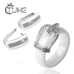 bride engagement rings Australia - Health Material Wedding Jewelry Sets For Women Classic Crystal Crown Bride Jewellery Engagement Stud Earrings Rings Wedding Sets V191220