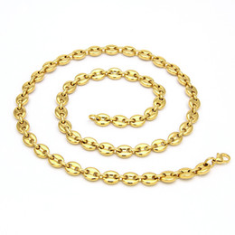 New coffee beaNs online shopping - Men s Hip Hop L Stainless Steel Coffee Bean Chain Pig Nose Chain Button Necklace New