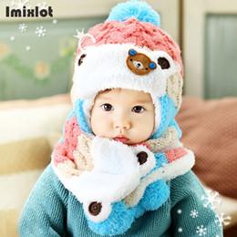 fed94e0af057b Unisex Child Beanies Cap Set Baby Kids Cartoon Design Stripe Knit Add  Velvet Hat and Scarf Winter Warm Suit Set