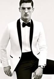 Venta al por mayor de Traje de novio de esmoquin de boda de dos piezas en blanco y negro Traje de fiesta de graduación personalizado (chaqueta + pantalones)