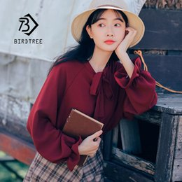 Lady T Shirts Full Australia - 2019 New Spring Solid Lace Up Bow Women T Shirt Loose O Neck Pullover Full Sleeve Female Simple Top Lady Sweet Hot Sales T92912Z