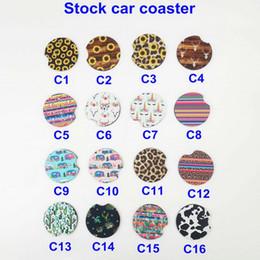 Neoprene Car Coaster Cup Caneca Caneca Coaster Girassol Cactus Tarja Leopard Print Cup Pad para a Decoração Da Mesa Do Carro Para Casa venda por atacado