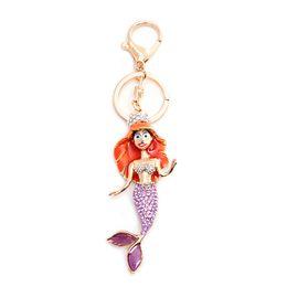 Cellphone Keys Australia - Pretty Mermaid Sparkling Charm Blingbling Keychain Crystal Rhinestone Pendant Sea-maid Charm Women Bag Cellphone Keyring Key Sea-maiden