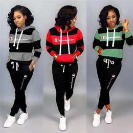 Wholesale women autumn sportwear online – oversize Champion Letter Women Tracksuit Brand Hoodies and Pants Long Sleeve Autumn Winter Outfits Luxury Sportwear Casual Clthing SeC91608