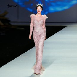 T Shirts Style Australia - Finove Evening Dress 2019 Elegant Golden Rose Mermaid Styles Beading Feathers Full Sleeves Long Floor Length Party Formal Gowns