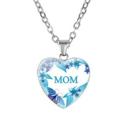 $enCountryForm.capitalKeyWord Australia - Best Mom Ever Glass Pendant Necklace Mothers Day Gift Jewelry Heart Pendant Necklace for Mom Jewelry 8 Pattern Option